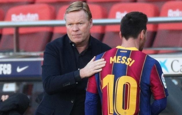 Ronald Koeman ja Lionel Messi. Foto: Scanpix / Albert Gea / Reuters