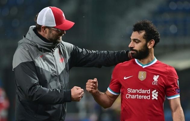 Peatreener Jürgen Klopp ja tähtründaja Mohamed Salah. Foto: Scanpix / Miguel Medina / AFP
