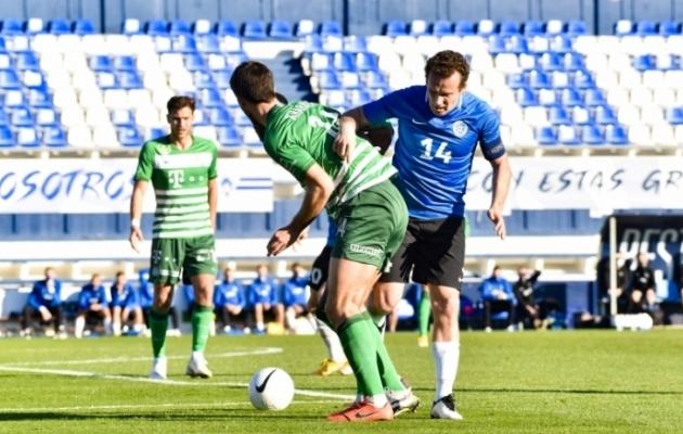 Konstantin Vassiljev mängus Ungari tippklubi Budapesti Ferencvarose vastu. Foto: Liisi Troska / jalgpall.ee