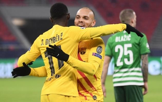 Ousmane Dembele (vasakul) ja Martin Braithwaite ei säranud just eriti eredalt, kuid said lõpuks väravad kirja. Foto: Scanpix / Attila Kisbenedek / AFP