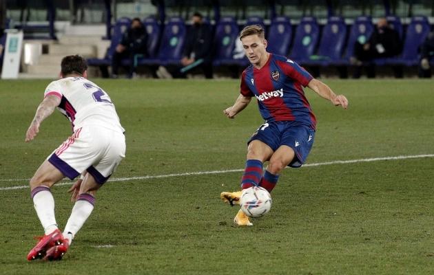 Levante - Real Valladolid kohtumise avavärava lõi Dani Gomez (paremal). Foto: Scanpix / EPA / Manuel Bruque