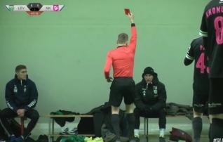 Video | Levadia abitreener Tarmo Kink sai punase kaardi