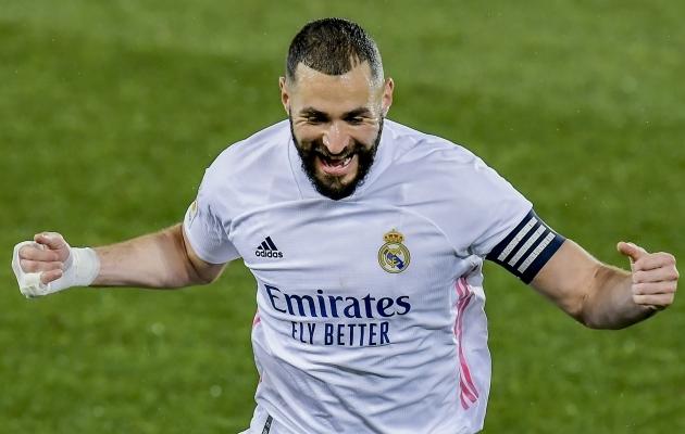 Karim Benzema arvele kanti jälle kaks väravat, kokku on tal neid sel hooajal liigas juba kümme. Foto: Scanpix / AP Photo / Alvaro Barrientos