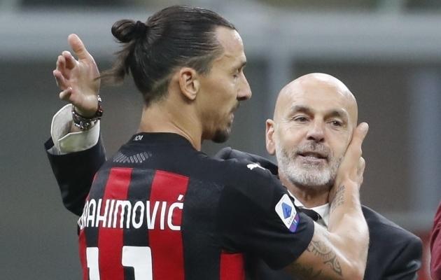 Zlatan Ibrahimovic ja Stefano Pioli. Foto: Scanpix / Antonio Calanni / AP