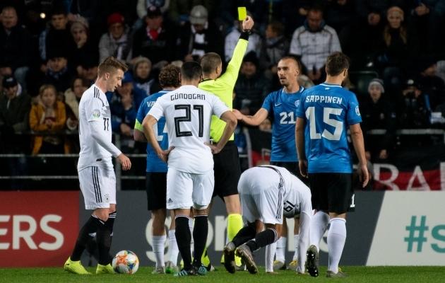 2019. aasta sügisel kodus Saksamaa vastu mängis Eesti 75 minutit arvulises ülekaalus, aga kaotas 0:3. Foto: Liisi Troska / jalgpall.ee