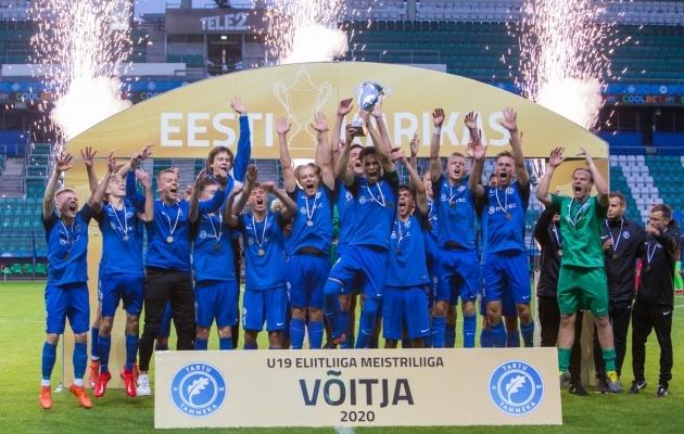 U19 Eliitliiga 2020. aasta võitja Tartu Tammeka end Euroopas proovile panna ei saa. Foto: Andrei Smetana