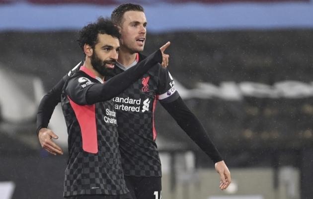 Liverpooli tähtründaja Mohamed Salah ja kapten Jordan Henderson. Foto: Scanpix / Justin Setterfield / Pool
