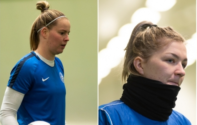 Karina Kork (vasakul) ja Getriin Strigin eilsel Eesti naiste koondise treeningul. Fotod: Liisi Troska / jalgpall.ee
