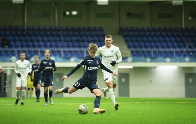 U21 mängijad on oma ainsad talvised treeningkohtumised pidanud esinduse eest. Pildil Matrix Einer mängus Tammekaga. Foto: Liisi Troska / jalgpall.ee