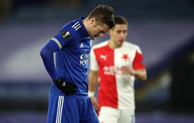 Jamie Vardy ei suudnud Tšehhi klubi vastu väravat ohustada. Foto: Scanpix / Nick Potts / PA Wire / PA Images