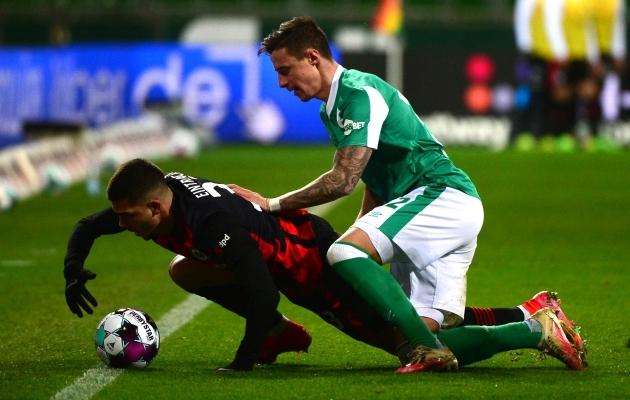 Werder suutis Eintrachti üllatuslikult põlvili suruda. Foto: Scanpix / AFP / Patrik Stollarz