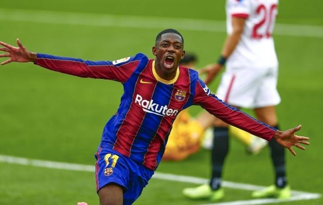 Säravalt mänginud Ousmane Dembele lõpetas Sevilla ilusa kodumaise jalgpalli nulliseeria. Foto: Scanpiz / Antonio Pozo / PRESSINPHOTO
