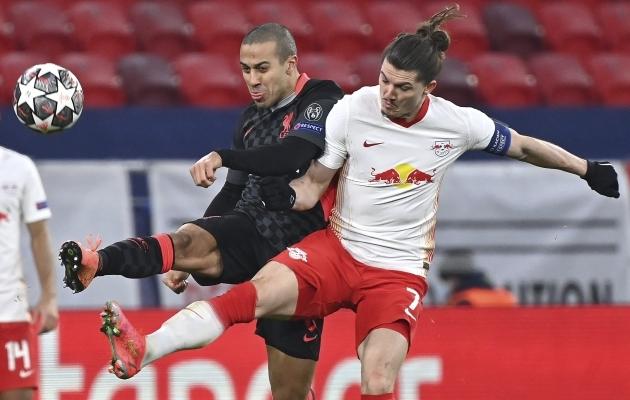 Liverpooli ja RB Leipzigi Meistrite liiga 1/8-finaali avamäng peeti Budapestis. Neljapäeval selgus, et Ungari pealinnas toimub ka kordusmäng. Foto: Scanpix / AP / Tibor Illyes