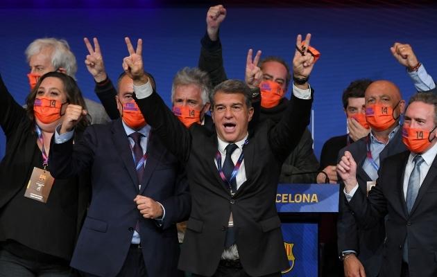 Joan Laportast sai kindla häälteenamusega taas FC Barcelona president. Foto: Scanpix / AFP / Lluis Gene