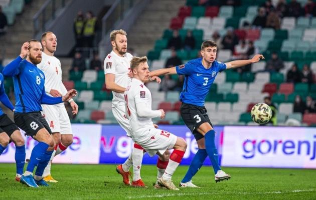 Valgevene - Eesti MM-valikmäng, mida Eesti 1:0 ja 2:1 juhtima asus, aga lõpuks 2:4 kaotas. Foto: Jana Pipar / jalgpall.ee