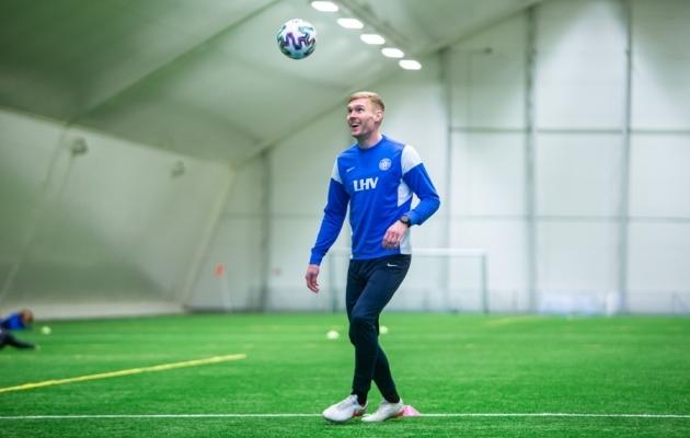 Joonas Tamm märtsi lõpus rahvuskoondise treeningul. Koondisega ta siiski kaasa sõita ei saanud. Foto: Jana Pipar / jalgpall.ee