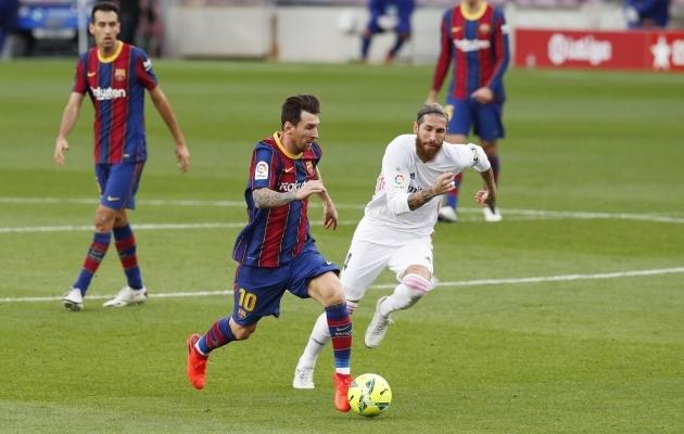 Tiitlite mõttes on Lionel Messi olnud alati Sergio Ramosest sammukese ees. Foto: Scanpix / Albert Gea / Reuters