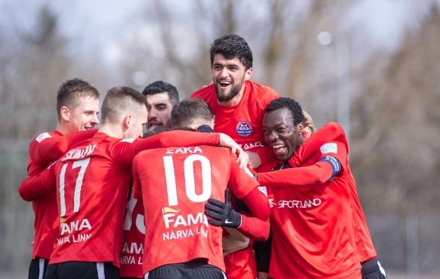 Narva Trans mängib tarka, aga samas lustakat jalgpalli. Foto: Jana Pipar / jalgpall.ee