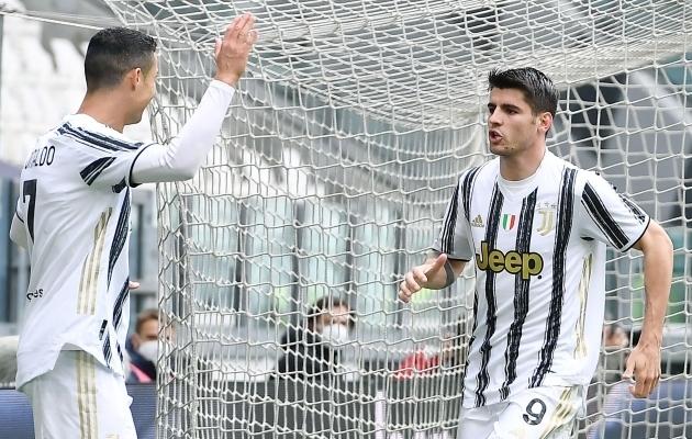 Juventuse ründajad Cristiano Ronaldo ja Alvaro Morata. Foto: Scanpix / Alessandro Di Marco / EPA