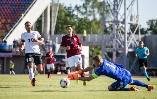 Vitalijs Jagodinskis (nr 19) 2018. aastal Eesti vastu mängimas. Foto: Brit Maria Tael