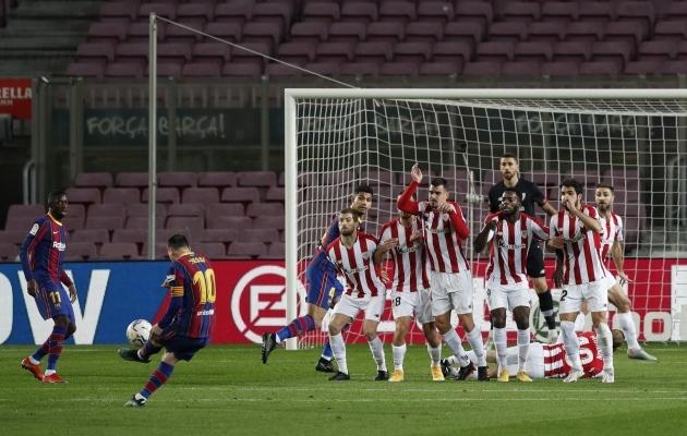 Sein on ees, aga Messi lööb ikka ära! Viimati läks Athleticu ja Barcelona liigamängus just nii, kas ka karikafinaalis? Foto: Scanpix / Reuters / Albert Gea