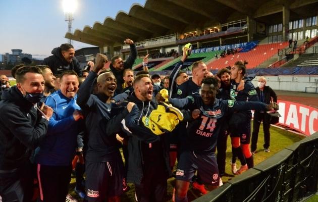 Nii tähistasid GFA Rumilly Vallieres' mängijad esiliigaklubi Toulouse'i alistamist. Foto: Scanpix / Frederic Chambert / imago images
