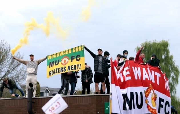Superliiga-skandaali tõttu on Manchester Unitedi fännid viimastel päevadel aktiivselt meeleavaldusi korraldanud. Foto: Scanpix / Barrington Coombs / PA Images
