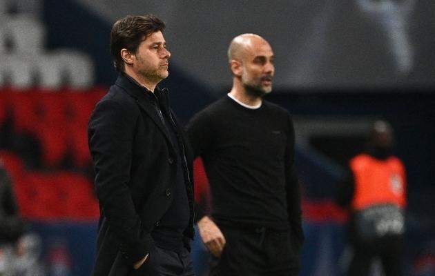 Mauricio Pochettino ja Pep Guardiola. Foto: Scanpix / Anne-Christine Puojoulat / AFP