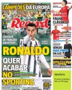 """""""Cristiano Ronaldo soovib lõpetada karjääri Sportingus!"""" teatab tänase Recordi esikaas. Foto: kuvatõmmis"""