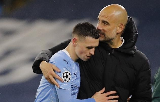Pep Guardiola ja Phil Foden. Foto: Scanpix / Reuters / Phil Noble