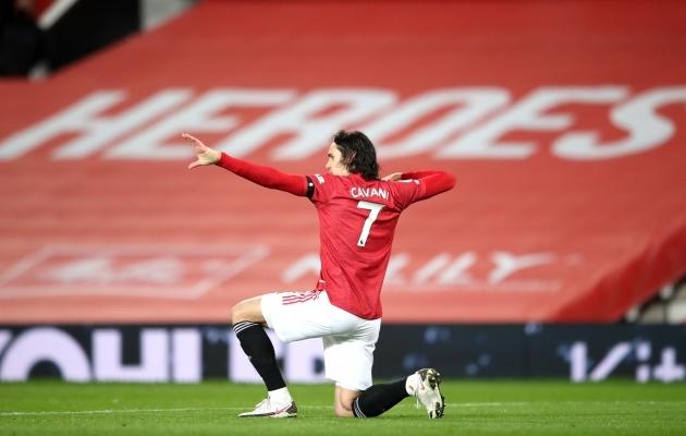 Edinson Cavani jätkab Manchester Unitedis. Foto: Scanpix / PA Wire / PA Images / Alex Pantling