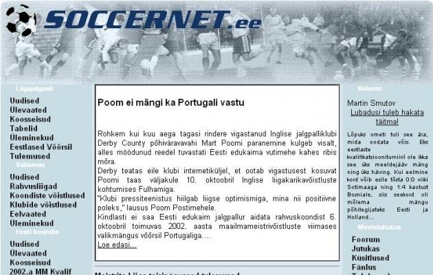 Selline nägi välja Soccernet.ee 20 aastat tagasi.