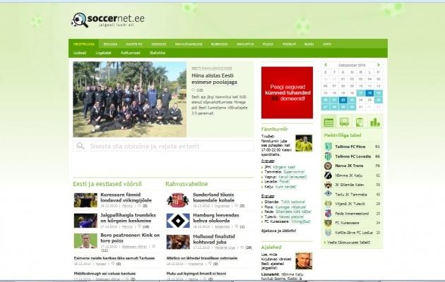 Soccernet.ee esileht 2010. aasta detsembris.