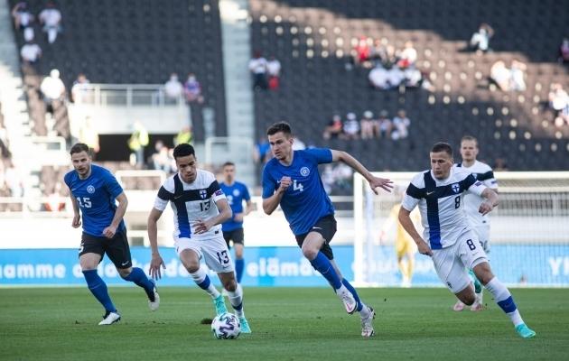 Mattias Käit mängis korduvalt soomlased elegantselt üle. Foto: Jana Pipar / jalgpall.ee