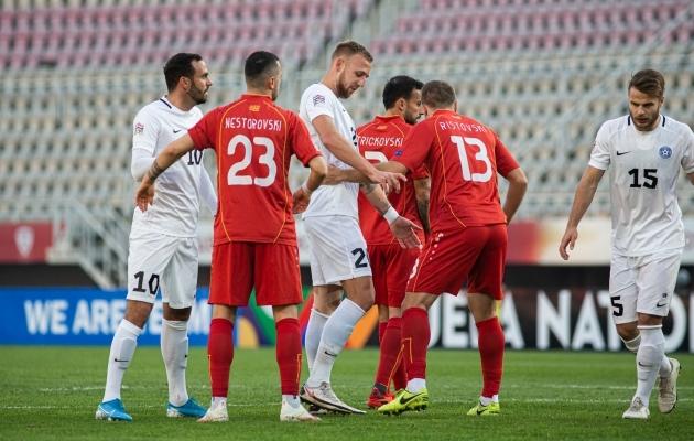 Kõigest kolm päeva pärast EM-pileti kindlustamist võttis Põhja-Makedoonia vastu Eesti ja tähistas saavutust võiduga. Foto: Jana Pipar / jalgpall.ee