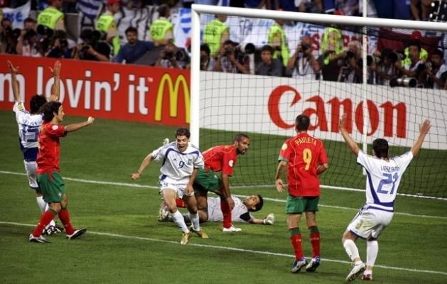 Angelos Charistease väravast alistas Kreeka EM-finaalis Portugali. Tegu on EM-ide ajaloo kõige uskumatuma tiitlivõiduga. Foto: Scanpix / imago images / Pro Shots