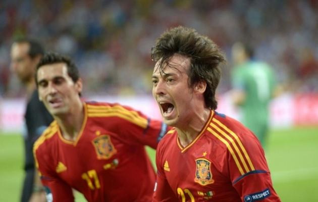 EM-finaali avavärava autor David Silva tabamust tähistamas. Lõpuks võitis Hispaania finaali 4:0. Foto: Scanpix / imago images / Xinhua