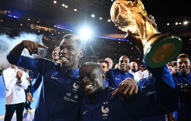 Prantsusmaa keskväljaduo Paul Pogba ja N'Golo Kante. Foto: Scanpix / Franck Fife / POOL / SIPA