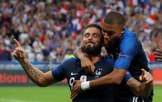 Olivier Giroud ja Kylian Mbappe. Foto: Scanpix / Charles Platiau / Reuters