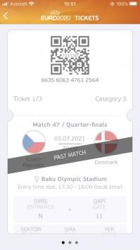 Mälestus jalgpallimatšist on nüüd igavesti minu telefonis. Foto: kuvatõmmis EURO Tickets äpist