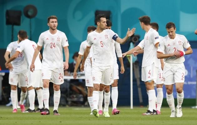 Hispaania koondis on, nagu kõik poolfinalistid, pannud maksvusele võistkondliku jõu. Foto: Scanpix / Reuters / Maxim Shemetov