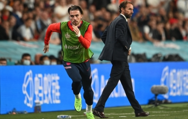Miks kasutas Gareth Southgate (paremal) Jack Grealishit vähe nii finaalkohtumises kui ka tervel finaalturniiril? See küsimus jääb paljusid Inglismaa toetajaid painama. Foto: Scanpix / Reuters / Andy Rain