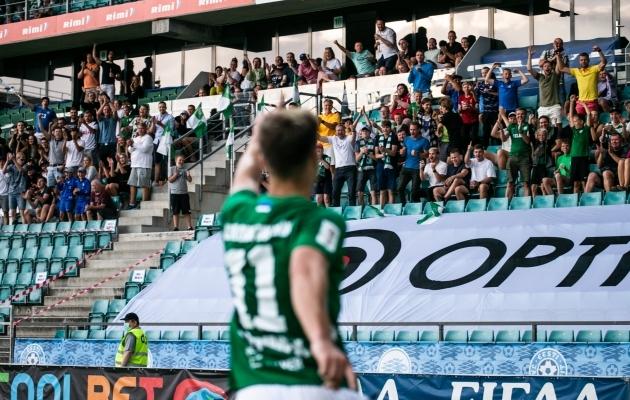 Rauno Sappinen tähistab FC Flora eest Meistrite liiga esimeses eelringis löödud väravat. Foto: Brit Maria Tael