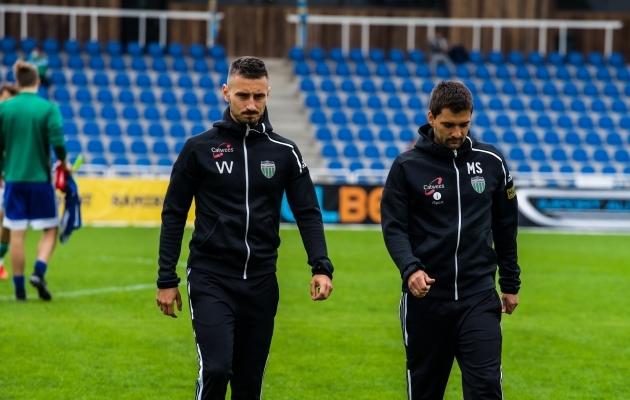 Levadia peatreenerid Vladimir Vassiljev (vasakul) ja Marko Savic. Foto: Markus Mangusson