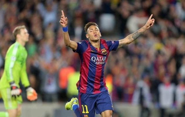 Neymar 2015. aastal Barcelona eest löödud väravat tähistamas. Foto: Scanpix / Bernd König / imago images