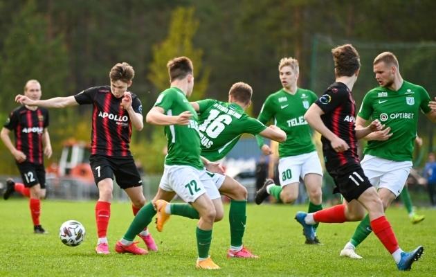 Nõmme United ja Flora U21 leppisid viiki. Foto: Liisi Troska / jalgpall.ee (arhiiv)