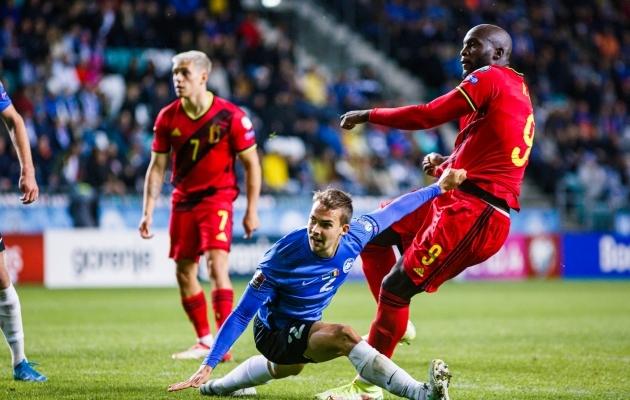 Romelu Lukaku (paremal) lõi Eesti võrku kaks väravat. Foto: Oliver Tsupsman