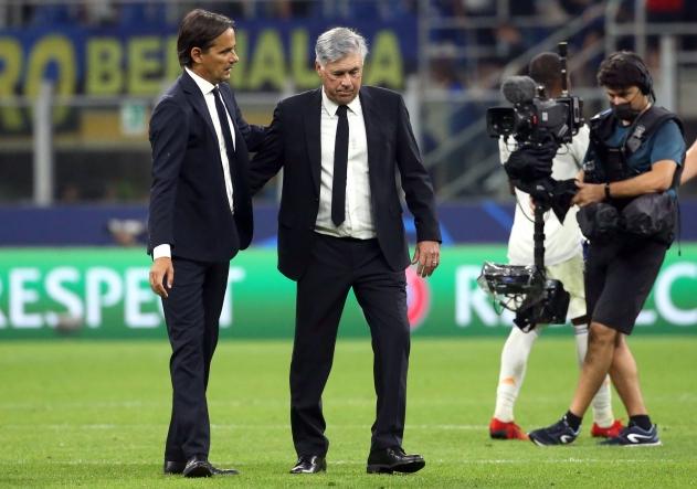 Simone Inzaghi ja Carlo Ancelotti. Foto: Scanpix / EPA / Matteo Bazzi