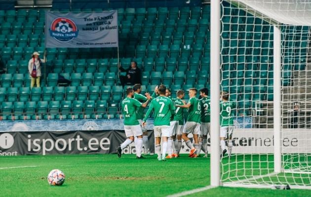 FCI Levadia väravat tähistamas. Foto: Liisi Troska / jalgpall.ee