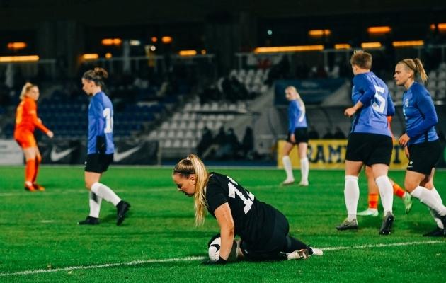 Karina Kork päästis Eesti mitu korda halvimast. Foto: Liisi Troska / jalgpall.ee